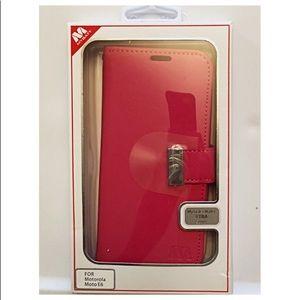🆕Phone Case-Leather, Motorola Moto E6, Fuchsia